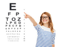 Cute little girl in eyeglasses pointing in the air Royalty Free Stock Photo