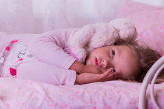 Cute little girl falls asleep. Stock Photography