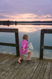 Cute little girl fishing Royalty Free Stock Photography