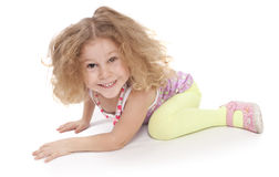 Cute little girl on the floor Stock Photography