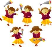 Cute Little Girl With Flower B. Illustrations vector Cute Little Girl With Flower Bouquet royalty free illustration