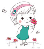 Cute little girl and flower Royalty Free Stock Images