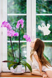 Cute little girl with flower sitting on windowsill of new pvc wi Royalty Free Stock Images