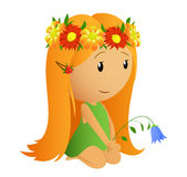 Cute little girl with flower wreath. Vector illustration. Cute little girl with flower wreath and in bell in the hand Stock Photography