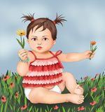 Cute little girl and flowers, little girl child, boy, greeting card, postcard   baby  child  illustration , human  life, kid care stock image