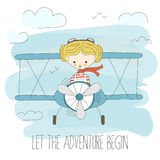 Cute little girl flying a plane on sky. Hand drawn cartoon vector illustration. Let the adventure begin. Fantasy summer. Poster. Child dream or imagination Royalty Free Stock Images