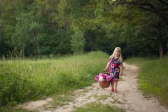 Cute little girl on a forest road with a basket of flowers. stock photography