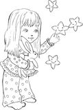 Cute little girl with funny stars. Digital stamp. Stock Image