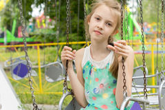 Cute little girl with a gentle serious expression Stock Images