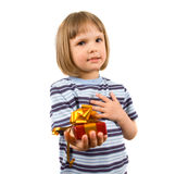 Cute little girl with gift Royalty Free Stock Image
