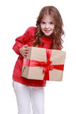 Cute little girl with gift box Royalty Free Stock Images