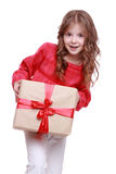 Cute little girl with gift box Royalty Free Stock Photos
