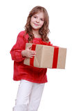 Cute little girl with gift box Stock Image
