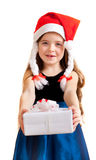 Cute little girl gives gifts Stock Photos