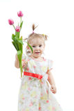 Cute little girl giving flower gift on white Royalty Free Stock Images
