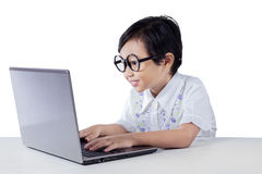 Cute little girl with glasses typing on laptop Stock Images