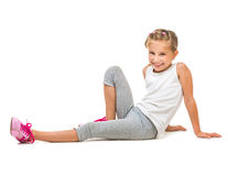 Cute little girl goes in for sports Stock Photo