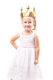 Cute little girl with gold crown isolated Royalty Free Stock Photo