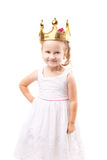 Cute little girl with gold crown isolated Stock Image