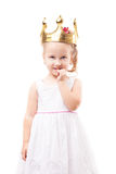 Cute little girl with gold crown isolated Royalty Free Stock Image