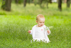 Cute little girl in the grass royalty free stock photography