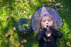 Cute little girl in Halloween which costume have Royalty Free Stock Photography