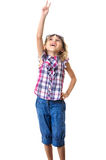 Cute little girl with hand up Stock Image
