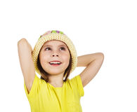 Cute little girl happily looking up Royalty Free Stock Image