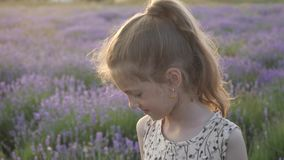 Cute little girl happily plays in Provence. merriment and smiles feeling good summertime nature of France concept of travel. Cute little girl happily plays in stock video footage