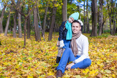 Cute little girl with happy daddy enjoy their Royalty Free Stock Photo
