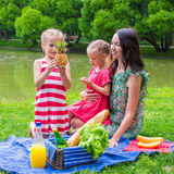 Cute little girl and happy mom picnicking in the Stock Images