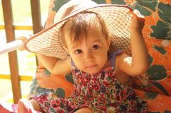 Cute little girl in hat Royalty Free Stock Photography
