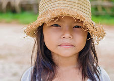 Cute little girl and hat Stock Photo