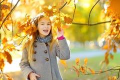 Cute little girl having fun on beautiful autumn day. Happy child playing in autumn park. Kid gathering yellow fall foliage. stock photos