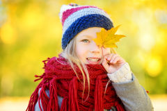 Cute little girl having fun on beautiful autumn day. Happy child playing in autumn park. Kid gathering yellow fall foliage. royalty free stock image
