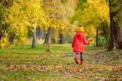 Cute little girl having fun on beautiful autumn day Royalty Free Stock Images