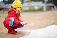 Cute little girl having fun on beautiful autumn day Royalty Free Stock Image