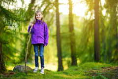 Cute little girl having fun during forest hike on beautiful autumn day in Italian Alps Stock Images
