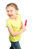 Young Girl Having Fun with Her Icecream Stock Photography