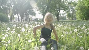 Cute little girl having fun looks at Dandelion seeds while relaxing in the park. Cute little girl having fun looks at Dandelion seeds while relaxing in the park stock footage