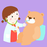 Cute little girl heal bear doll  Stock Image