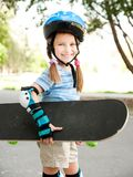 Cute little girl in a helmet Stock Image