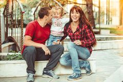 Family with child royalty free stock photos