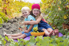 Cute little girl and her brother outdoor Stock Images