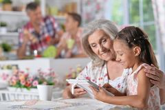girl with grandmother using tablet Royalty Free Stock Image