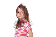 Little girl and wind Royalty Free Stock Images