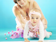 Cute little girl and her mother Stock Photo