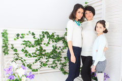 Cute little girl, her mother and grandmother. Together on this portrait stock image