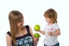 Cute little girl and her mum Royalty Free Stock Images