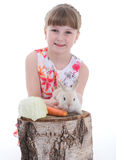Cute little girl with her pet rabbit Stock Photography